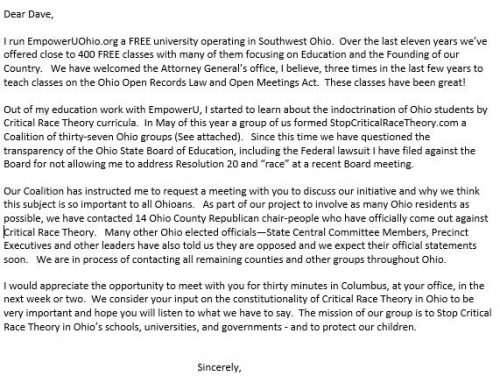 Letter to Attorney General Dave Yost